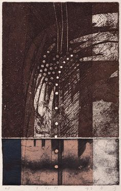 E-1.Apr.89 26.5x17cm copperplate print (etching) with chine collé  林孝彦 HAYASHI Takahiko 1989