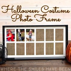 What a cute way to display and remember all of those adorable costumes!  Buy a premade school years frame and mat OR cut your own mat out of some poster board with a Silhouette or Cricut!  Yearly Halloween Costume Photo Frame | Where The Smiles Have Been