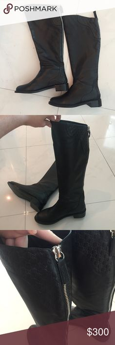 Gucci Tall Boots Size 40. Fits like a 9 or 8.5. I'm a true 9 and they feel good with thighs but a thicker sock would be too tight. A friend passed them to me because they were small on her and they're small on me too. No box no bag.  I have wide calves and short legs as you can see on the picture. I would recommend them to someone with skinny calves and long legs unless you like them to rise over your knee. Gucci Shoes Over the Knee Boots