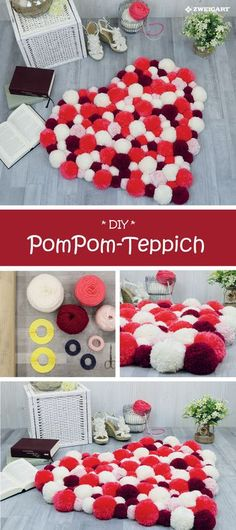 nice PomPom-Teppich in Herzform selber machen - Detallierte Step-by-Step Anleitung! - Jarabel Jewelry Gold & Silver Jewelry/ Layering Necklaces / Bracelets and Rings , Carpet Diy, Rugs On Carpet, Fun Crafts, Diy And Crafts, Pom Pom Rug, Pom Pom Crafts, Farmhouse Style Decorating, Step By Step Instructions, Diy Gifts
