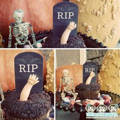 Halloween party ideas: Zombie cupcakes using a free printable tombstone template and doll parts   Three Little Monkeys Studio