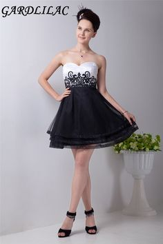 0bd578e004 Gardlilac Black and White Backless Short Homecoming Dress Organza Strapless Short  party Dress with beaded Applique