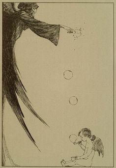 Demon bursting angel-blown bubbles