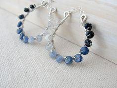Sapphire Earrings Silver Hoops Blue Gemstone Wire by BlueRoomGems