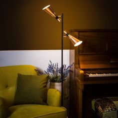 Modern Floor Lamp Black with Copper - Jesse 2