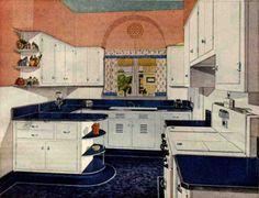 1940's kitchens - Retro Renovation. love this blue and white crisp kitchen.