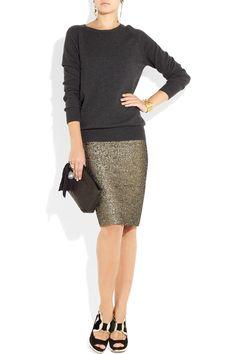 By Malene Birger|Dandes metallic jacquard pencil skirt|NET-A-PORTER.COM