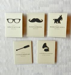 Birthday Card Set - Funny Cards - 5 Cards for the Price of 3 - Handmade - 40% off  - Mustache - Donkey - Glasses - Oar - Record. $14.99, via Etsy.