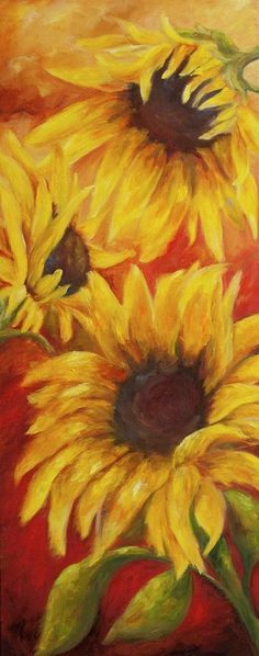 Sunflowers On Red Painting  - Sunflowers On Red Fine Art Print