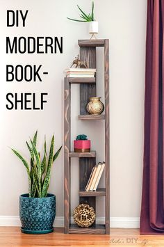 How To Build A Modern DIY Bookshelf – In 5 Steps Love this! Easy DIY modern bookshelf idea with plans. Simple project for living room or dining room or any modern mid century space. Related posts: Build A DIY Rustic Farmhouse Bookshelf Ana White Modern Bookshelf, Bookshelf Design, Bookshelves, Bookshelf Ideas, Bookcase Storage, Diy Furniture Plans Wood Projects, Home Projects, Furniture Design, Diy Furniture Modern