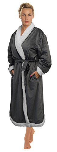1d3b614958 Buy Women s Plush Soft Warm Sherpa Fleece Bathrobe Kimono Collar Spa Robe  Grey - Warm Grey - and Find More From Our Large Selection of Women s  Sleepwear ...