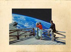 Original Art Surreal Artwork Vintage Space Retro by bornsleepy