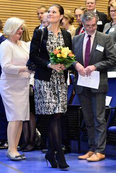 Crown Princess Victoria attended at Future Forum, Hanasaari, Finland Princesa Victoria, Crown Princess Victoria, Finland, Sequin Skirt, Royalty, Sequins, Victorian, Dresses, Future