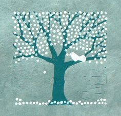 Blossom Tree Lino cut print by StripedPebble on Etsy