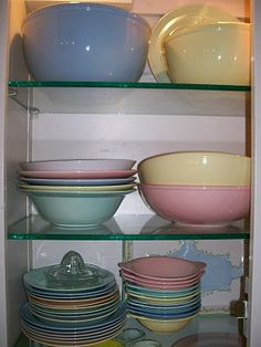"""Lu-ray Pastel Dinnerware was manufactured by the Taylor, Smith & Taylor Company (T.S.) from 1938-1961.  The four original colors--Surf Green, Windsor Blue, Sharon Pink, and Persian Cream (a soft yellow)--were joined by a fifth color, Chatham Gray, in 1949.  It was never as popular as the other colors and was discontinued around 1952.  The backstamp, used on all pieces before the early 1950s, reads """"T.S.  Lu-Ray Pastels U.S.A."""", followed by numbers representing the month and year."""