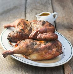 Smoked Chicken with Peach Ginger Barbecue Sauce for Man Food Mondays - From Calculu∫ to Cupcake∫