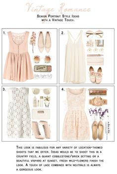 Vintage Romance styles for a senior session from my Polyvore account.