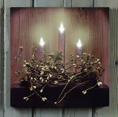 Lighted Olde Grungy Candle Canvas