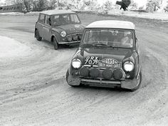 Two BMC Mini Cooper S:s climbing up the mountains during the Rallye Automobile de Monte-Carlo, 1968. #185 was driven by Tony Fall and Mike Wood and finished fourth, whilst the #181 of William Cresdee and Gerald Phillips failed to finish.