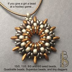 Beth Stone, seed beads, pendant