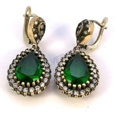 925 sterling silver earrings hurrem kosem sultan drop emerald green topaz turkish jewellery ottoman handmade film serie made in Turkey silve