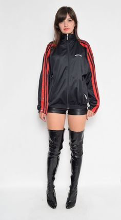 Label: Adidas - Era: 1990s - Color: red, black - Fabric: 100% polyester - Condition: very good, clean, no tears, no rips. Ready to wear. -