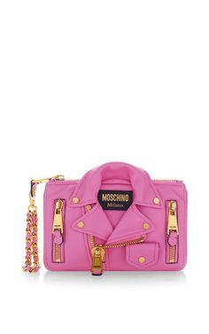Biker Bag Wristlet Pink by Moschino for Preorder on Moda Operandi