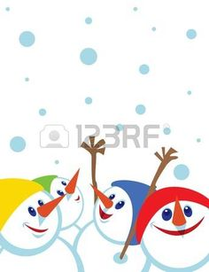 Christmas card with snowmansSpace for copypaste photo