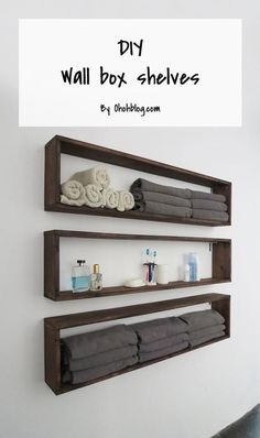 DIY Bathroom Storage Ideas - DIY Wall Box Shelves - Best Solutions for Under Sink Organization, Countertop Jars and Boxes, Counter Caddy With Mason Jars, Over Toilet Ideas and Shelves, Easy Tips and Tricks for Small Spaces To Organize Bath Products Box Shelves, Diy Wall Shelves, Wall Bookshelves, Easy Shelves, Small Shelves, Storage Shelves, Decorative Wall Shelves, Small Wall Shelf, Plywood Storage