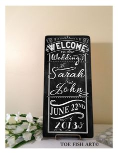 Welcome to our WEDDING CUSTOM CHALKBOARD Style Typography Word Art Sign on wood Personalize with your Names and Date