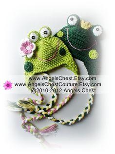 Crochet Frog Earflap Beanie Hat - Pattern $7.99