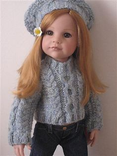 Ravelry: Grace pattern by Claire Henesey Free Pattern american girl aran knit sweater knitting Knitting Dolls Clothes, Ag Doll Clothes, Crochet Doll Clothes, Knitted Dolls, Crochet Dolls, American Girl Crochet, American Girl Crafts, American Doll Clothes, American Girls