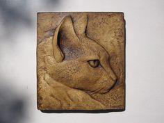 Cat Artwork Rufus Intense Look Sculptured Tile door SculptureGeek