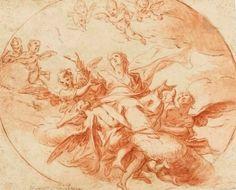 GIOVANNI BATTISTA BEINASCHI (FOSSANO 1636-1688 NAPLES) | L'Assomption; et Deux anges portant la croix | 17th Century, Drawings & Watercolors | Christie's