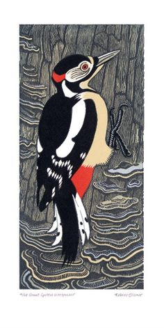 Great Spotted Woodpecker by Robert Gillmor. Lino cut.