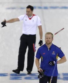 DAY 13:  Niklas Edin of Sweden competes during the Curling Men's Semifinals - Great Britain vs. Sweden http://sports.yahoo.com/olympics
