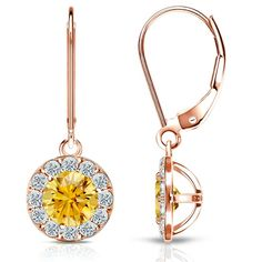 Certified 14k Rose Gold Halo Round Lever back Yellow Diamond Stud Earrings 3.00 ct. tw. (Yellow, SI1-SI2)