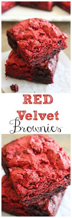 These Red Velvet Brownies are too pretty not to make all year long! They are super easy and will disappear in no time.| mandysrecipeboxblog.com: