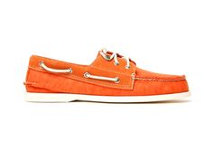 Band of Outsiders x Sperry Top-Sider 3-Eye Boat Shoe ... In orange. DO WANT.
