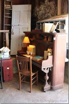 On the Banks of Squaw Creek: 31 Days of Decorating with Junk: Repurposed Upright Piano Furniture Projects, Furniture Makeover, Home Projects, Diy Furniture, Chair Makeover, Furniture Refinishing, Furniture Design, Repurposed Furniture, Painted Furniture