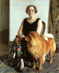 Mrs Dorothy May Hoover with her Chow Chow Choonam Brilliantine ( England 1927) by Harold Knight (1874-1961) oil on canvas