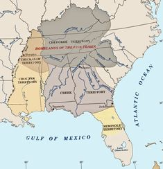 "The original territory of the Five ""Civilized"" Tribes that were forced to move to ""Indian Territory"" (now known as Oklahoma), along with many other tribes. The Cherokees, Creeks, Choctaws, Chickasaws and Seminoles."