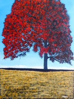 Acrylic Landscape Painting, 24x18, Large Canvas Wall Art, Tree Painting, RedTree, Blue Sky, Rural Landscape,Impressionism (SOLD)