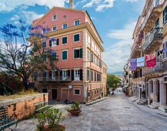 Streets of Corfu Town at early morning. Corfu Town, Corfu Island, Corfu Greece, Greek Islands, Great View, World Heritage Sites, Old Town, Beautiful Places