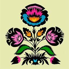 Inspire Bohemia: Wycinanki: Polish Paper Art - Part II Folk Art Flowers, Flower Art, Polish Folk Art, Indian Folk Art, Arte Popular, Fused Glass Art, Pattern Art, Art Patterns, Rock Art