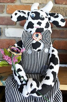Adorable Cloth Bull DollHand Made Stuffed by GinasCornerCrafts, $20.00