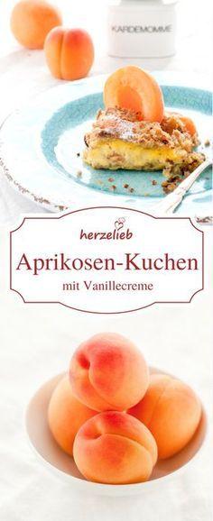 Kuchen Rezept, Aprikosen Rezept: Leckerer Aprikosen-Kuchen mit engebackener Vanillecreme von herzelieb. Einfach, leicht und lecker!