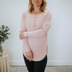 Little & Lively - Women's Long Sleeve Henley Shirt | Rosewood – The Kindred Studio Women's Henley, Henley Shirts, Kids Pajamas, Pajamas Women, Long Sleeve Henley, Kids Branding, Tunic Tops, Studio, Womens Fashion