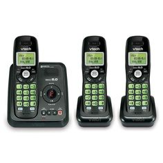 Shop for Vtech DECT Cordless Phone System with Digital Answering System and Three Handsets. Get free delivery On EVERYTHING* Overstock - Your Online Telephones Shop! Cordless Telephone, V Tech, Phones For Sale, Phone Companies, Caller Id, Electronic Devices, Digital Technology, Cool Things To Buy, Walmart