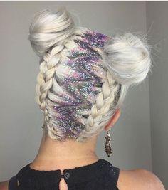 Braids and Afro puffs glitter hair
